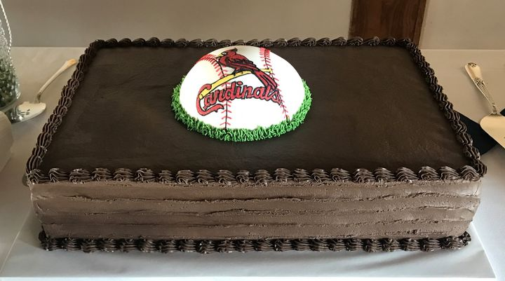 11-10-18  Triple choc. fudge cake with chocolate butter icing.  Baseball is cake, covered with fondant.