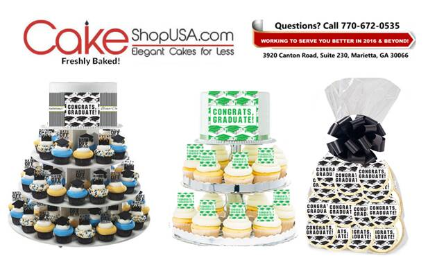 High School, College Graduation Cakes, Cupcakes, Cookies, Brownies & More. Visit CakeShopUSA.com or Call 770-672-0535