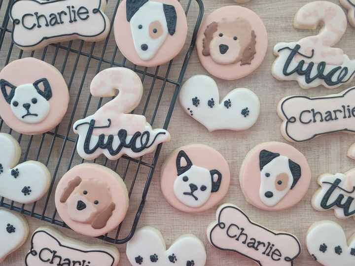 """The """"paw""""fect treats for a special 2 year olds pup party 🐶🐾🥳 Happy Birthday Charlie! #cookies #sugarcookies #royalicingc..."""