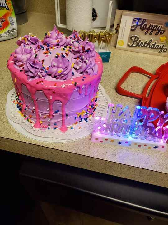 6 inch Birthday cake and cupcakes for my daughter's birthday colored confetti vanilla cake with colored vanilla buttercr...
