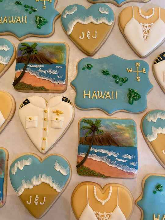 For a recent wedding in Hawaii…cookies done Navy style! The Groom is a Navy Helicopter Pilot. Seems my cookies keep goin...