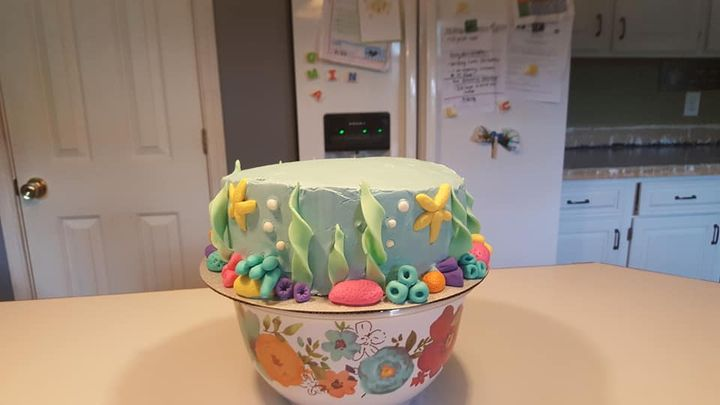 """Under the Sea themed cake for a sweet girls 2nd birthday. Client added a """"Hank"""" (from Finding Dory) to the top. 3 layer ..."""