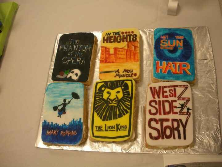 Broadway Cookies (hand-painted)- 3rd place at National Capital Area Cake Show, March 2010