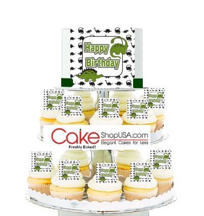 Dinosaur cakes and cupcakes. Visit CakeShopUSA.com http://cakeshopusa.com/Dinosaur-Cake-Cupcake-Tower_p_1811.html