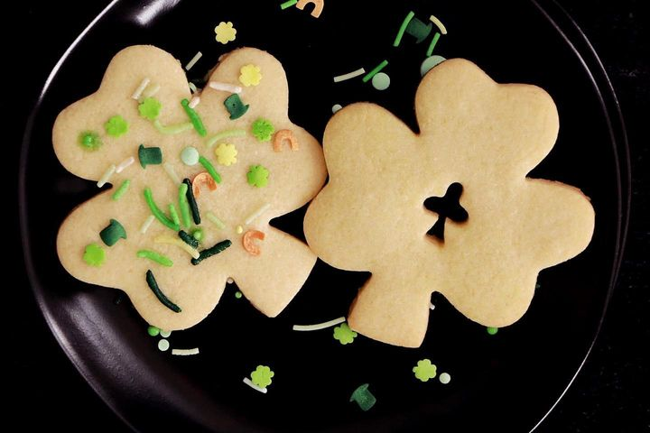 Happy St. Patrick's Day! ☘️Classic sugar cut out cookies with St. Patty's sprinkles to make them extra fun. #inmykitchen...
