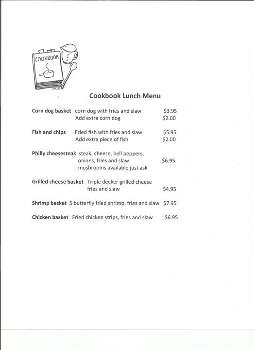 Introducing our new lunch menu. Come try us for lunch, soda and piece of pie for dessert included!!!